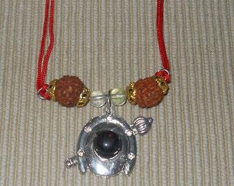 Lord Hanuman Rudraksha and Quartz Kavach Amulet - Blessed - Good 4 Shani Saturn