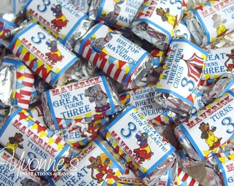 Circus Carnival Mini Candy Bar Wrappers / Miniature Chocolate Bar Favors - For Child a Birthday, First a Birthday