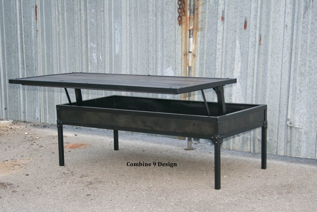 Adjustable Height Coffee Table Modern Industrial Style