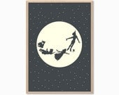 PETER PAN | Moon Poster : Modern Illustration Disney Movie Retro Art Wall Decor Print