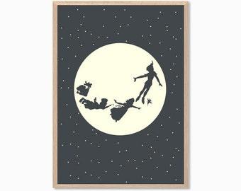 PETER PAN | Moon Poster : Modern Illustration Disney Movie Retro Art Wall Decor Print