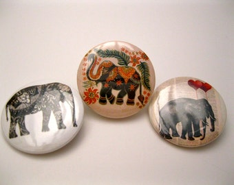 Set of Three (3) Vintage Style 1.25'' Elephant Pinback Buttons (Badges) or Magnets