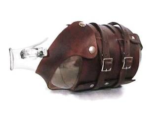 Personalized Leather Growler Carrier with Bike Straps (Brown) / Monogram / Made in USA