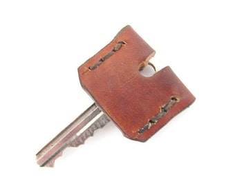 Brown Leather Key Topper / Key Cap / Key Identifier / Key Cover / Monogram / Made in USA