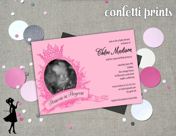 Baby Shower Invitation / Ultrasound Photo Card - PRINCESS IN PROGRESS Printable