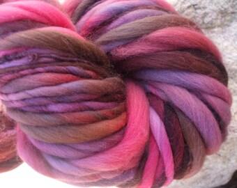 Hand spun yarn - hand painted merino wool - thick and thin - 4.1 oz. - 75 yards
