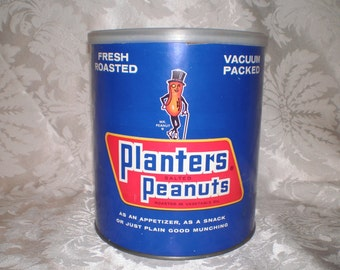 Rare 4 Lb. Planters Salted Peanuts Can with Original Cover, 1960s Large Paper Label Planters Tin Can with Plastic Lid