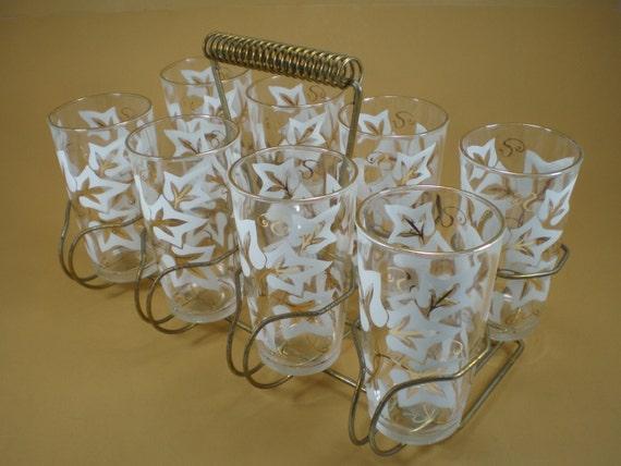 8 Hazel Atlas Leaf Glasses in Carrier Vintage White and Gold
