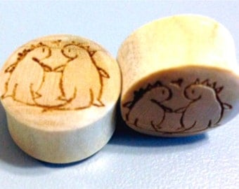 """Custom Handmade Organic """"Dinos in Love"""" Wood Plugs  -- You choose wood type/color and size 7/16""""- 30mm"""