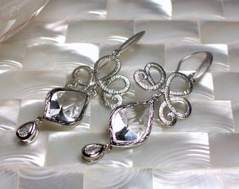 Long Earrings, Cubic Zirconia Earrings, Silver Earrings, Drop Earrings, Dangle Earrings, Fashion Earrings, Wedding Jewelry