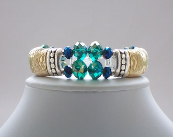 Cuff Bracelet, Beaded Bracelet, Bangle Bracelet, Metal Bracelet, Glass Beaded Jewelry, Blue, Green, Silver, Gold, Fashion Bracelet