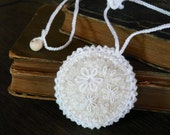 Rustic wedding embroidered crocheted necklace natural rustic bridesmaid jewelry