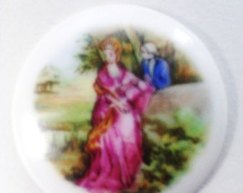 Petite Signed Cabochon From Limoges France with Crown Mark