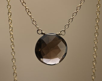 Smoky Quartz Disc Briolette Pendant Necklace on Gold Chain, 388