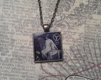 Steampunk Resin Pendant with Vintage Alfred Cheney Johnston Pin Up Flapper Photo and Clockwork Antiqued Bronze Necklace