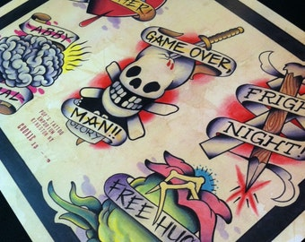 Horror Movie Tattoo Flash Sheet