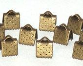 Antique Brass end crimps 6 x 6 mm