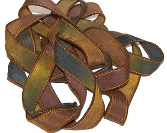 "Sassy Silks Hand Painted/Dyed Ribbons Falling Leaves 42"" to 44"" x 1/2"""