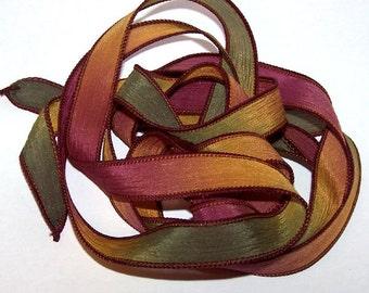 Sassy Silks Hand Painted/Dyed Ribbons Autumn Leaves