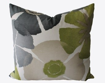 Decorative Floral Grey, Tan, Green Pillow Cover, 18x18, 20x20, 22x22 or Lumbar Throw Pillow