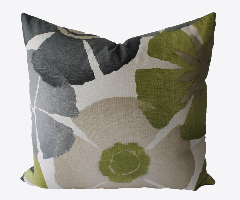 Decorative Floral Grey Tan Green Pillow Cover 18x18 20x20