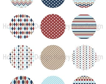 """Instant Download - 2"""" Printable Circles 033 - Patterned Circles"""