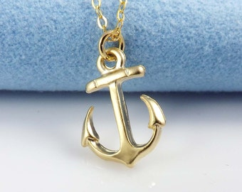 Pendant necklace - Gold Filled Chain with small anchor  - simple everyday wear Necklace - dainty jewelry-mothers day gift