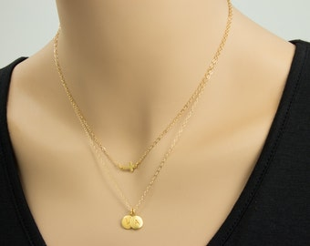 Small Sideways Cross with 24K Gold Initial Necklace, 2 Gold Initials, Double Chain Necklace, Stamped Jewelry, Personalized Necklace, Name