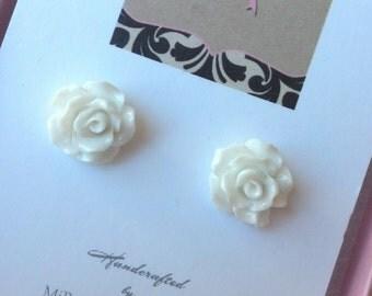 White Rose Flower Girl Earrings