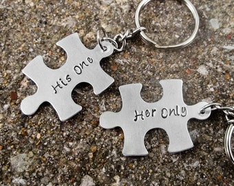 His One Her Only puzzle piece aluminum stamped metal key chains love couple best friends
