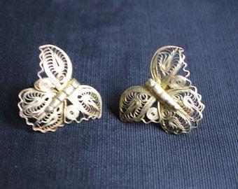 Butterfly Earrings, Screw Back Butterflies Filigree Earring Stamped Mexico