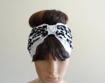 White And Black Printed Headband. Printed Head Wrap