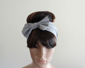 Grey Headband. Grey Bow Head Wrap