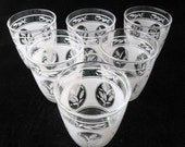 6 Clear Glass 8 oz Short Tumblers with White Wheat Design Vintage Set of 6
