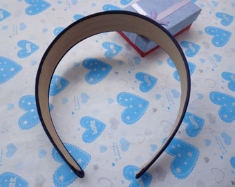 SALE--2 pcs Dark Blue Satin Headbands-- 30mm Wide