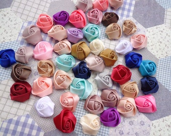 20 pcs Mixed Colors Elegant Rosette Satin Flowers 25X10mm