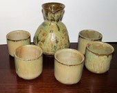 Handcrafted Wabi Sabi Sake Pot Set Wood Fire Glazed