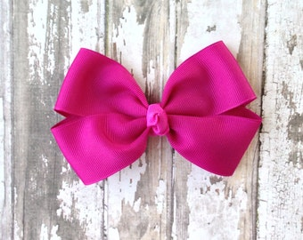 Fuchsia Hair Bow - Bright Purple Bow - Fall Hair Clip