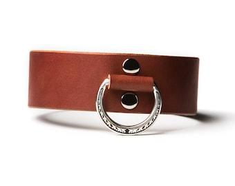 BDSM Collar - Slave Collar - Bondage Collar - Leather Collar - Brown Leather Collar - Brown Slave Collar - Brown Bondage Collar - Ivy Sh St