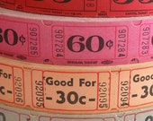 50 Vintage Carnival Tickets - Pick Your Combo -  Red, Pink, Peach, and Grey Raffle Tickets - Small Paper Ephemera - Embellishments