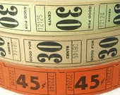 50 Vintage Carnival Tickets - Pick Your Combo for Fall - Mint Green, Beige, Orange Raffle Tickets - Autumn Colors - Small Paper Ephemera