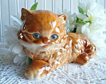 Vintage Goebel Kitten Cat Figurine - Orange Ginger Persian Cat Figurine Signed Goebel