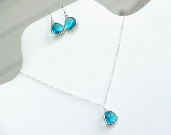 Turquoise Jewelry Set - Necklace and Earrings - Aqua Turquoise Jewelry - Bridesmaid Jewelry, December Birthstone