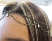 Looped bronze head chain with swarovski crystal drops