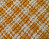"DOWNSIZING SHOP SALE...Pumpkin Orange Basket Weave Vintage Chenille Bedspread Fabric Piece...18 x 24"""