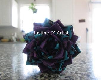 Purple & Blue Leopard Duct Tape Rose Pen