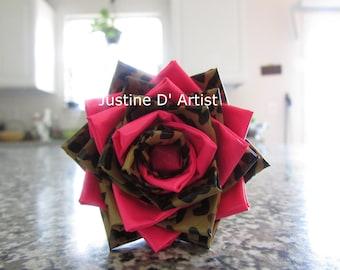 Pink & Cheetah Print Duct Tape Rose Pen