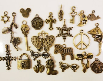 Bronze Assorted Charms 8x5mm to 25x22mm Antique Brass Tone Metal Alloy (Bronze) Charm Pendant Variety Pack Jewelry Findings 20pcs