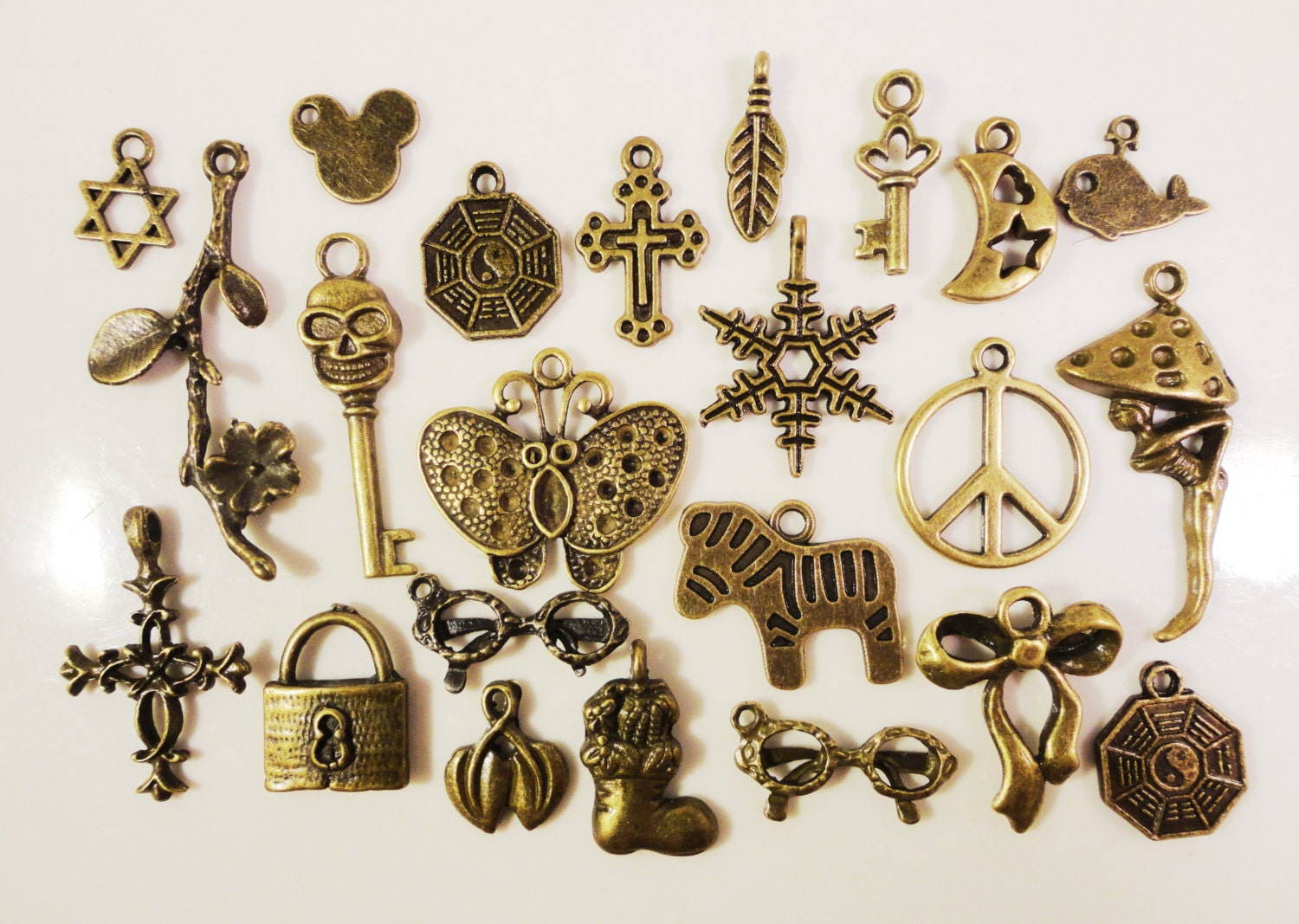 bronze assorted charms 8x5mm to 25x22mm antique brass tone