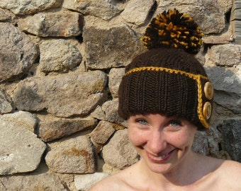 Woman's chunky knit hat, brown pompom beanie, chocolate wool ski hat